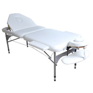 Aluli-3 Section Elite Professional Oversized Portable Aluminum Massage Table w/Bonuses - White