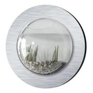 Brushed Aluminum Style Fish Bubble Aquarium - Deluxe Wall Mounted Fish Tank - Betta Bubble