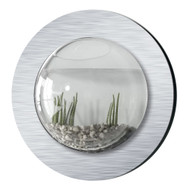 Brushed Aluminum Style Fish Bubble - Deluxe Wall Mounted Fish Tank