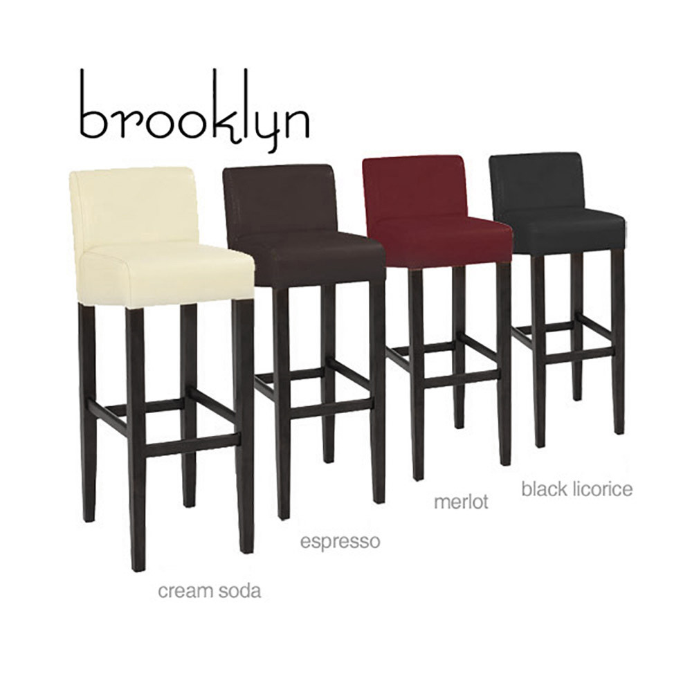 Astounding Set Of 4 Brooklyn Contemporary Wood Faux Leather Barstool Espresso Squirreltailoven Fun Painted Chair Ideas Images Squirreltailovenorg