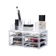 OnDisplay Cosmetic Makeup and Jewelry Storage Case Display - 5 Drawer Tiered Design - Perfect for Vanity, Bathroom Counter, or Dresser