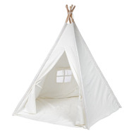 Modern Home Children's Canvas Tepee Set with Travel Case - White Window