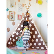 Modern Home Children's Indoor/Outdoor Teepee Set with Travel Case - Brown/Silver Polka Dot