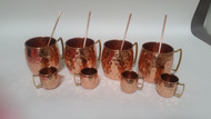 Set of 4 Moscow Mule Mug / Shot Glass / Straw Complete Set 100% Copper