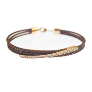 Kabl Stackable Twisted Stainless Steel Cable Bangle Bracelet - Milan