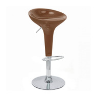 Set of 4 Alpha Contemporary Bombo Style Adjustable Height Barstools - ABS Molded Bar Chair - Polished Chrome Steel Base with Floor Protecting Rubber Ring (Coffee)