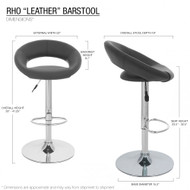 """Set of 4 Rho """"Leather"""" Contemporary Adjustable Barstool - Coffee Brown"""