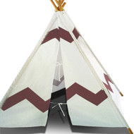 Modern Home Children's Indoor/Outdoor Teepee Set with Travel Case - Navajo Brown