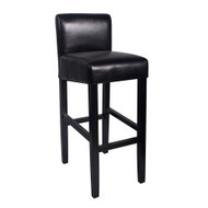 Set of 2 Brooklyn Contemporary Wood/Faux Leather Barstool - Black Licorice