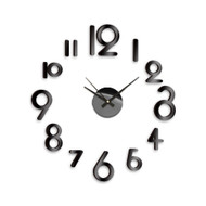 Modern Home Self Adhesive DIY 3D Wall Clock - Art Deco Black