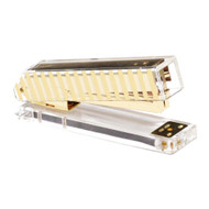 OnDisplay Luxe Acrylic Clear and Metallic Gold Stapler - Gold Stripe