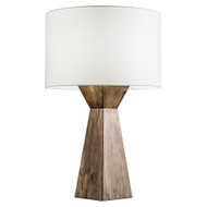 Modern Home Espresso Geometric Wood Table Lamp w/Natural Jute Shade
