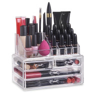 OnDisplay Cosmetic Makeup and Jewelry Storage Case Display - 4 Drawer Tiered Design - Perfect for Dresser, Vanity, or Bathroom Counter