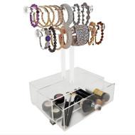 OnDisplay 2 Tier Acrylic Bracelet T-Bar Tree Stand w/Drawer