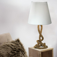 Modern Home Nautical Pier Rope Table Lamp - Abaca Rope with Cotton Shade Nightstand/Desk Light (Medium)