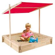 Modern Home Wooden Sandbox w/Red UV Canopy Roof