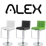 Set of 4 Alex Contemporary Adjustable Barstool - Lime Green
