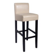 "Set of 2 Brooklyn Contemporary Wood/Faux Leather Barstool - 32"" Bar Height Stool for Kitchen/Bar/Man Cave (Cream Soda)"