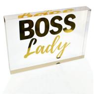 NEW! OnDisplay Acrylic Block Decorative Desktop Sign - Boss Lady - Metallic Gold