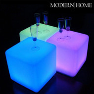 """Modern Home LED Glowing Cube Box Stool w/Infrared Remote Control - 16"""""""