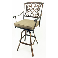 Set of 2 Wilshire Rotating Cast Aluminum Outdoor Chair/Bar Stool - Aged Copper