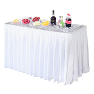 Modern Home 4' Party Ice Bin Table with Skirt - Portable Folding Tailgating Table for Ice Cold Drinks, Food, Platters, Beer and more (White)