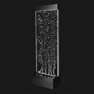 Modern Home Black Aluminum/Acrylic Wall Waterfall Bubble Fountain w/ LED Lights BW1
