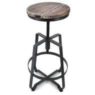 Set of 2 Turner Retro Adjustable Contemporary Steel/Wood Barstool