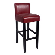 "Set of 4 Brooklyn Contemporary Wood/Faux Leather Barstool - 32"" Bar Height Stool for Kitchen/Bar/Man Cave (Merlot)"