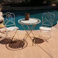 Modern Home Marseilles Antiqued Iron 3pc Folding Bistro Set - Outdoor Conversation Set