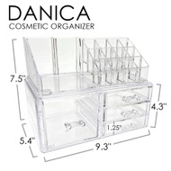 OnDisplay Cosmetic Makeup and Jewelry Storage Case Display - 4 Drawer Tiered Design - Perfect for Bathroom Counter, Vanity, or Dresser