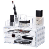 OnDisplay Cosmetic Makeup and Jewelry Storage Case Display - 3 Drawer Tiered Design - Perfect for Vanity, Bathroom Counter, or Dresser