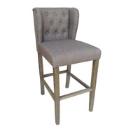 Set of 2 Wellington Contemporary Wood/Linen Barstool - Hazelnut Linen