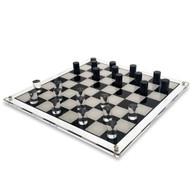 OnDisplay 3D Luxe Acrylic Checkers Set - Luxury Laser Cut Checkers Executive Board Game (Clear/Black)