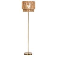 Modern Home Soho Jute Golden Brass Floor Lamp w/Natural Jute Rope Shade