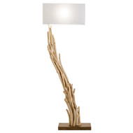 Modern Home Angled Driftwood Nautical Wooden Floor Lamp