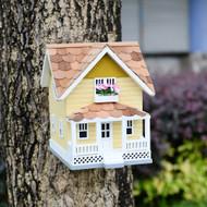 Outdoor Wooden Birdhouse, Bird-Friendly Perch (Golden Craftsman)