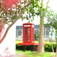 Outdoor Wooden Birdhouse, Bird-Friendly Perch (London Telephone Booth Feeder)