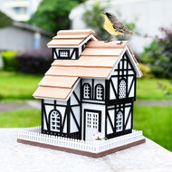 Outdoor Wooden Birdhouse, Bird-Friendly Perch (Euro Cottage)