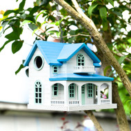 Outdoor Wooden Birdhouse, Bird-Friendly Perch (Ocean Bungalow)