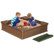 Modern Home 4ft x 4ft Weather Resistant Outdoor Sandbox Kit w/Cover, Durable All-Weather Outdoor Play Box