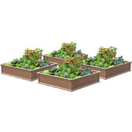 Modern Home Raised Garden Bed Kit - Stackable Modular Flower/Planter Kit (4'x4' Brown, Set of 4)