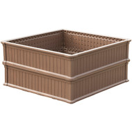 Modern Home Raised Garden Bed Kit - Stackable Modular Flower/Planter Kit (4'x4' Brown, Set of 2)