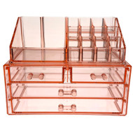 OnDisplay Cosmetic Makeup and Jewelry Storage Case Display - 4 Drawer Rose Quartz Design - Perfect for Vanity, Bathroom Counter, or Dresser