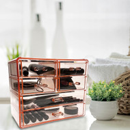 OnDisplay Cosmetic Makeup and Jewelry Storage Case Display - 6 Drawer Design - Perfect for Vanity, Bathroom Counter, or Dresser