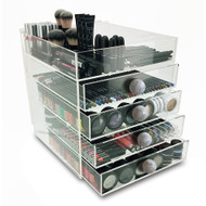OnDisplay Paris 5 Tier Acrylic Cosmetic/Makeup Organizer - Indian Mother of Pearl Ball Knobs