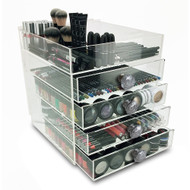 OnDisplay Paris 5 Tier Acrylic Cosmetic/Makeup Organizer - Cracked Hexagon Mercury Glass Ball Knobs