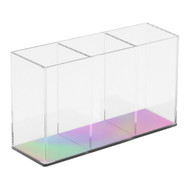 OnDisplay 3 Section Desktop/Bath/Vanity Deluxe Acrylic Organizer - Vanity Brush and Pencil Display, Desktop Pens/Pencils/Accessories Case (Iridescent Finish)