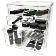 OnDisplay Cosmetic Makeup and Jewelry Storage Case Display - 3 Tier, 5 Drawer Design - Perfect for Vanity, Bathroom Counter, or Dresser