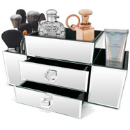 OnDisplay Emma 2 Drawer Tiered Mirrored Glass Makeup/Jewelry Organizer - Mirror Beauty Station - Perfect for Vanity, Bathroom Counter, or Dresser